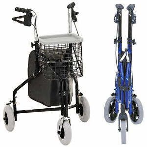 Lightweight Tri-walker rollator mobility 3 wheeled walking aid frame Basket Bag