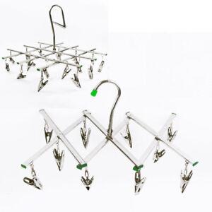 Stainless Steel Peg Clip Folding Clothes Hanger Swivel Hook Socks Drying Rack