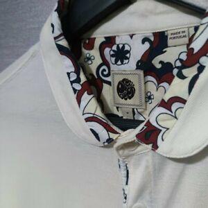 Men's Pretty Green Cream Polo Shirt Size M - Very Good Condition
