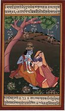 Lord Krishna Radha Painting Handmade Hindu God Spiritual Krsna Image Artwork