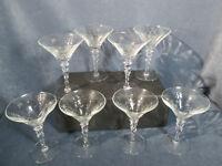 Champagne Glasses Vintage Etched Star Flower Faceted Stem Optic Elegant Set of 8