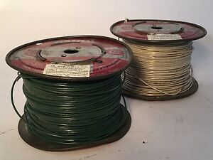 Two 500' Spools of Cable 18 AWG 600V Hook-Up Wire, Green and White