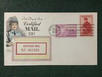 1955 Certified Mail Fluegel First Day Cover Washington DC Postage Mailman Cachet