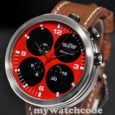 48mm parnis red Sandwich dial big face chronograph quartz mens wrist watch P47
