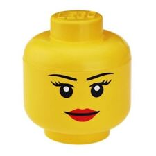 LEGO TOY STORAGE HEAD GIRL SMALL YELLOW BEDROOM PLAYROOM CHILDRENS