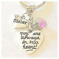 Sister You Are Always In My Heart Keychain Gift Of Love Swarovski Pendant Charm