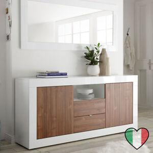 Credenza Buffet Noce/Laccato Bianco - Urbino - Made in Italy