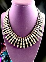 STUNNING 1950'S SILVER-TONE CRYSTAL RHINESTONE BIB STATEMENT BRIDAL NECKLACE