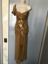 Women's Gucci gold chiffon one shoulder silk dress size 40