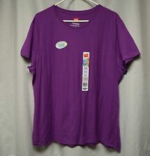 Womens Shirt Size 2X By Hanes Purple Tee Pull Over Short Sleeve NWT