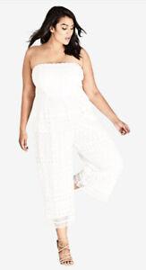 CITY CHIC - Ivory Applique Jumpsuit Size Medium/Size 18/Plus Size/Lace/Strapless