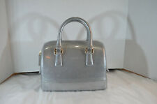 RARE NWT $248 AUTHENTIC FURLA CANDY SATCHEL JELLY BAG  Silver 978653