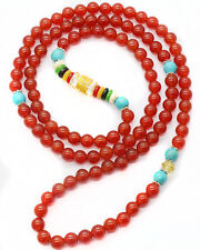 6mm Tibet Buddhist 108 Natural Red Agate Turquoise Prayer Beads Mala Necklace