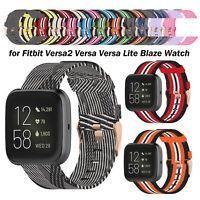 Nylon Denim Armband Uhrenarmband Gurt für Fitbit Versa2/Versa/Versa Lite/Blaze