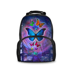 Butterfly Black Backpack Girls Women Children Shoulder School Book Bag Schoolbag