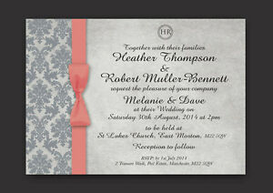 PERSONALISED WEDDING DAY, EVENING INVITATIONS DAMASK  INC ENVELOPES - CORAL GREY