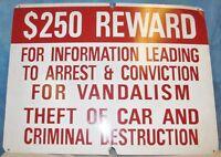 Reward Car Theft Vandalism/Parking Lot Garage Warning Sign Aluminum 24 x 18 S166