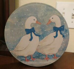 Decorative Blue Ribbon White Geese in snow Tin Box Canister round Winter scene