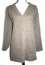 Vintage Express Womens Size L Cardigan Sweater Beige Black Heather Long Sleeves