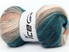 Lot of 4 x 100gr Skeins ICE MADONNA (40% Wool 30% Mohair) Yarn Turquoise Brow...
