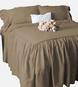 """Dust Ruffle Bed Spread/Bed Cover 15"""" drop 800 TC Egyptian Cotton ALL SIZE &COLOR"""