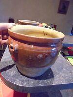 Ancien Gros Pot de Cuisine Grès 1/2 Vernissé Type Saloir Saindoux