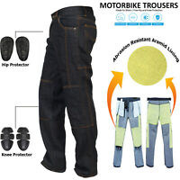 Denim Men's BLK Motorcycle Motorbike Trousers Reinforced Protective Lining jeans