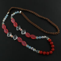 Damen Halskette Achat Edelstein Perlen Lampwork Kristall Makramee 90cm G980