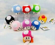 Lot 9Pcs Super Mario Bros Mushroom Key Chain Soft Plush Toy 6CM Mini Charm Set