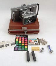 Massive 1960s Polaroid J66 Land Camera w/ Carrying Case Flashbulbs Manual ++