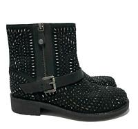 NEW, GEOX BLACK JEWELLED MOTORCYCLE BOOTS, 38, $285