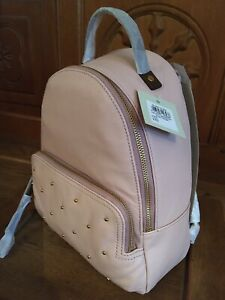 Fossil Pink and Tan Studded Leather Backpack Rucksack Bag NEW