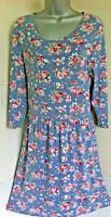 Cath Kidston Blue Stretch Jersey+Roses 3/4 Sleeve Scoop Neck Dress pockets12VGC