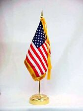 "U.S. United States Envoy Miniature Fabric Desk Table Flag Set With Stand 4"" X 6"""