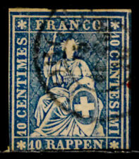 SWITZERLAND: 1858 19TH CENTURY CLASSIC ERA STAMP SCOTT #37C SOUND