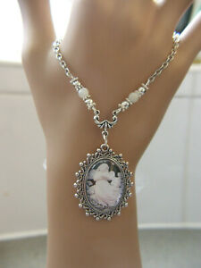 stunning angel  glass cab cameo pendant necklace wicca,pagan,