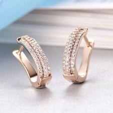 Brilliant 18K Gold Filled CZ Rhinestone Crystal Women Small Hoop Huggie Earrings