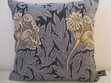 Sanderson William Morris Tulip Cotton & Navy Blue Velvet Cushion Cover