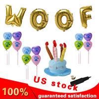 Pet Dog Puppy Birthday Decorations Kit Party Costume Headwear WOOF balloon