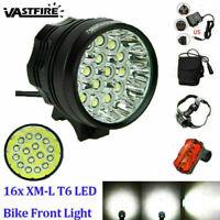 Super Bright 60000LM 16x XML T6 LED Front Bicycle Light Bike Headlamp Rear Lamp