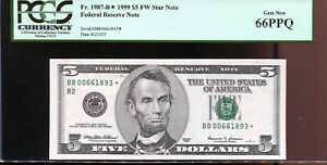 1999 $5 Federal Reserve **STAR** Note New York BB00661893* PCGS 66PPQ