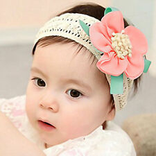 Baby Girl Toddler Bowtie Lace Flower Headband Headwear Hair Band Accessory