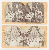ANTIQUE STEREOVIEW CARD CHILDRENS CHRISTMAS REAL PHOTOS