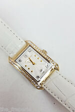 *KAREN MILLEN* LADIES' WATCH WHITE LEATHER WITH CRYSTAL ACCENTS KM111WG
