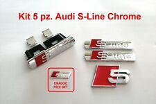 Kit 5 pz. Audi S-Line chrome adesivo 3D in Metallo Stemma logo badge A3 A4 Q3 Q5