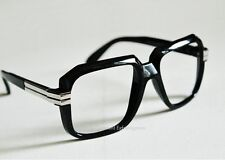Old School Retro Clear Lens Gazelle Black Frame Glasses w/ Silver Metal Accents