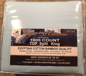 Royal Collection 1900 Count Top Split King Egyptian Cotton Bamboo Quality