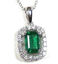 Emerald Pendant Rolo Chain 14K white Gold Natural Emerald Heirloom $4,346