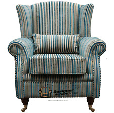 Ashley Wing Chair Fireside High Back Armchair Riga Aqua Stripe