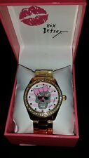 BETSEY JOHNSON  PINK WHITE STRIPES SILVER SKULL Watch TIMEPIECE  NWT
